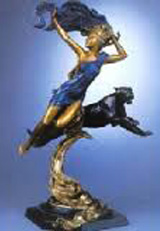 Diana and  the Panther Bronze Sculpture AP 1995 27 in