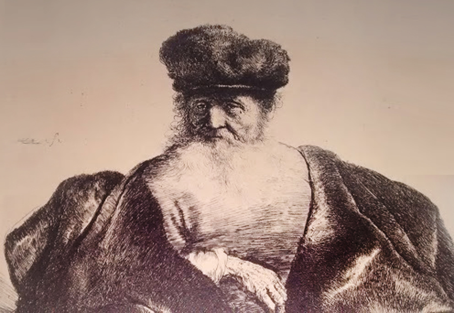 Old Man Seated With Flowing Beard, Fur Cap And Velvet Cloak
