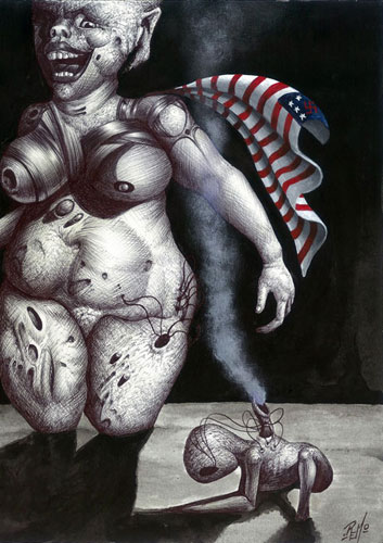 America Is a Pig, Capitalism or the American Way of Strife 11x9