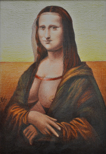 Mona Lisa of the Revealing Breasts Pastel 2009 11x8
