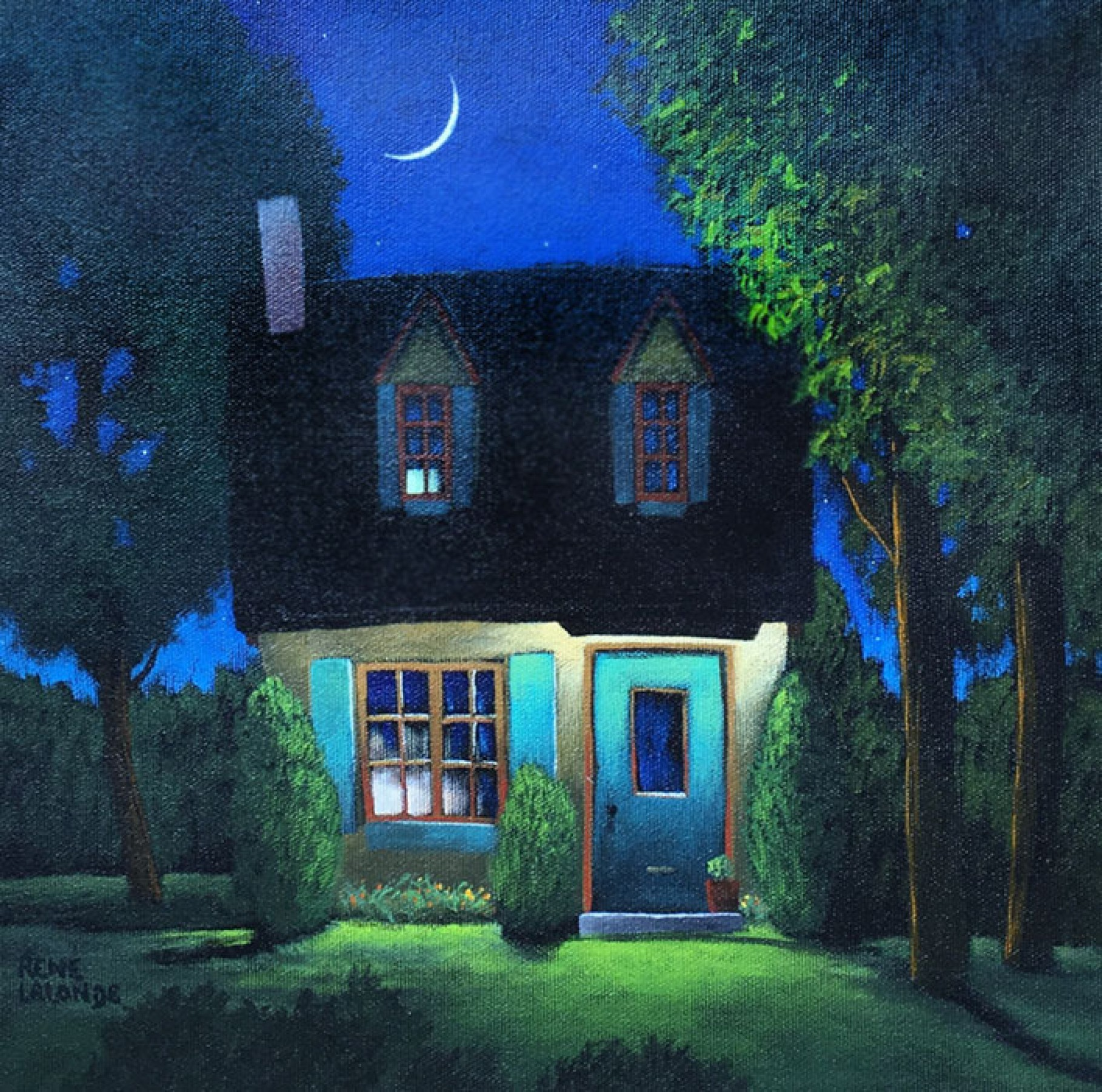 Nightfall in Happytown 2009 30x30