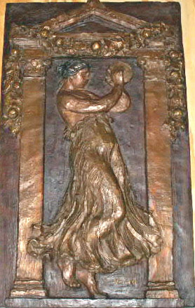 Dancer with Tambourine III Bronze Bas Relief