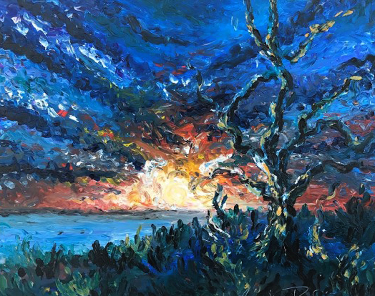 River Oak At Sunset 2011 42x36