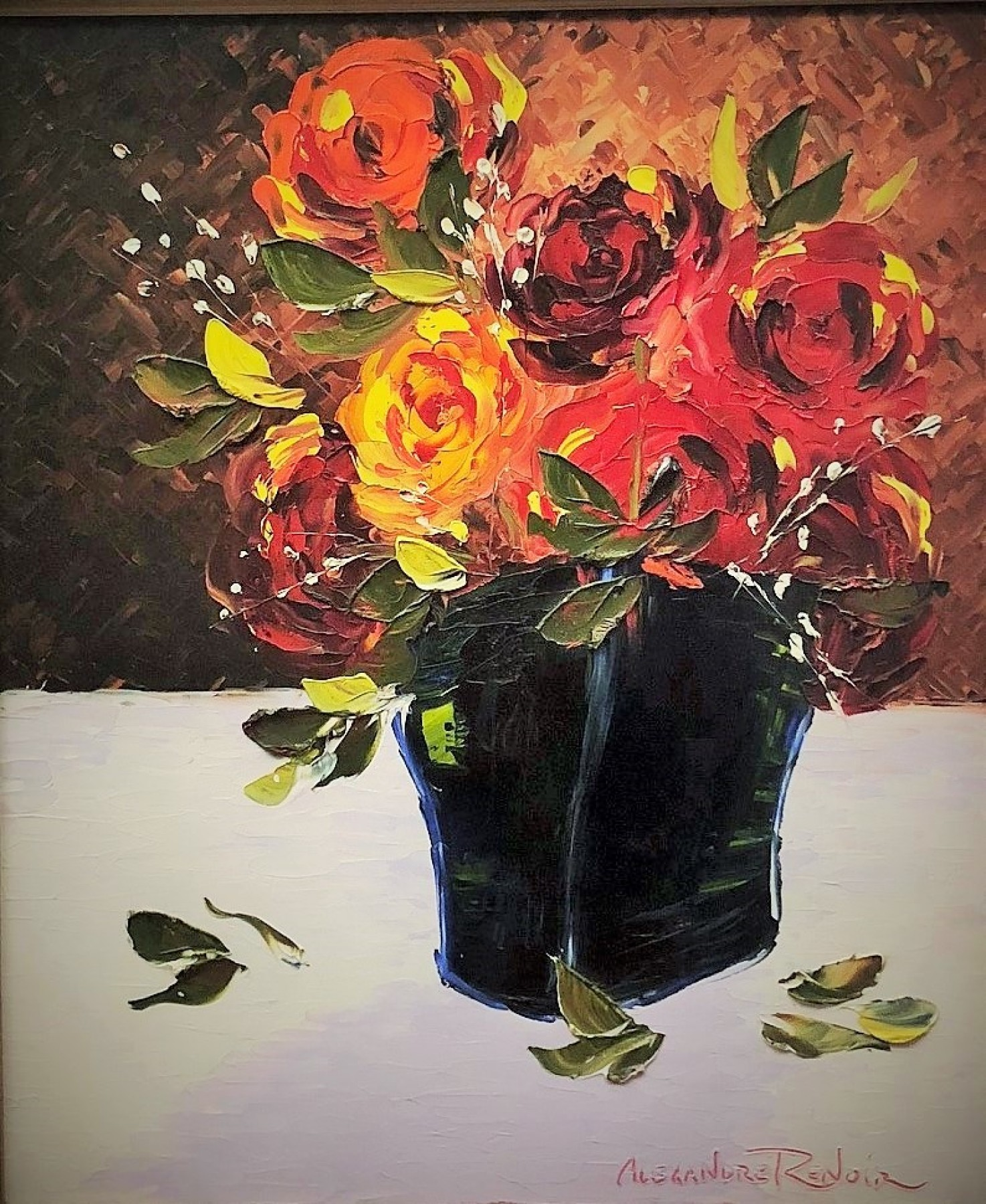 Still Life With Flowers 35x31 by Alexandre Renoir