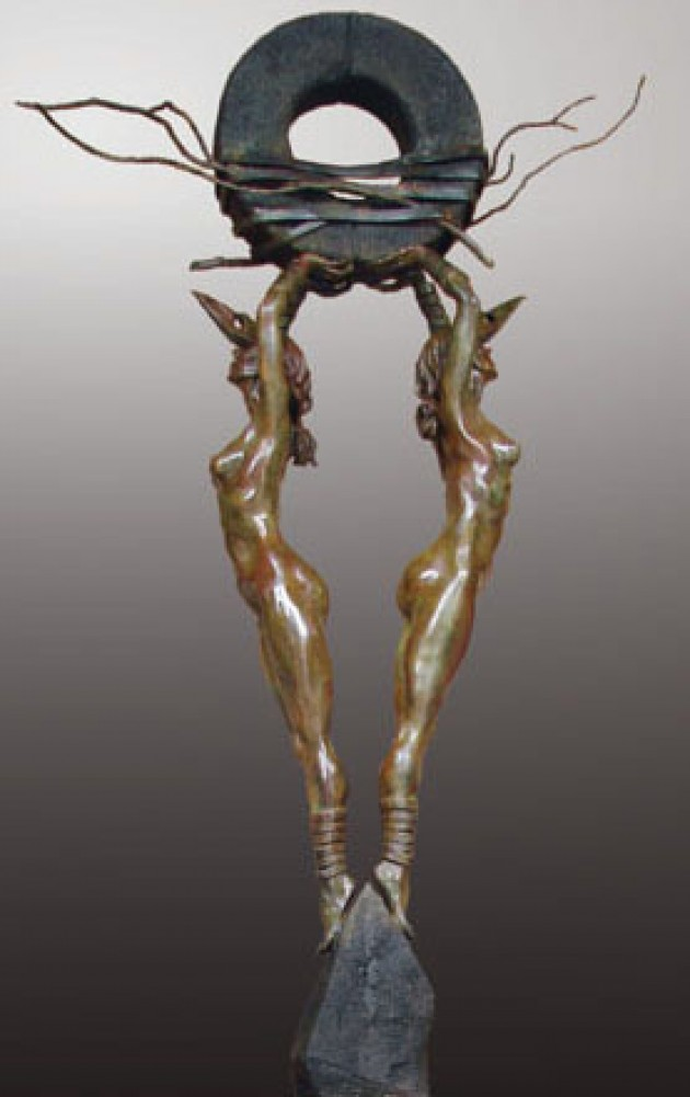 One Thought Conceived Lifesize Bronze Sculpture 2011 94 in