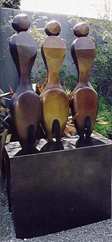 Three Women Two Fish Bronze Sculpture 74 in High (Life Size)