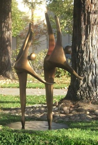 Dancers on One Toe (Medium)  AP Bronze Sculpture 2008 60x40 in