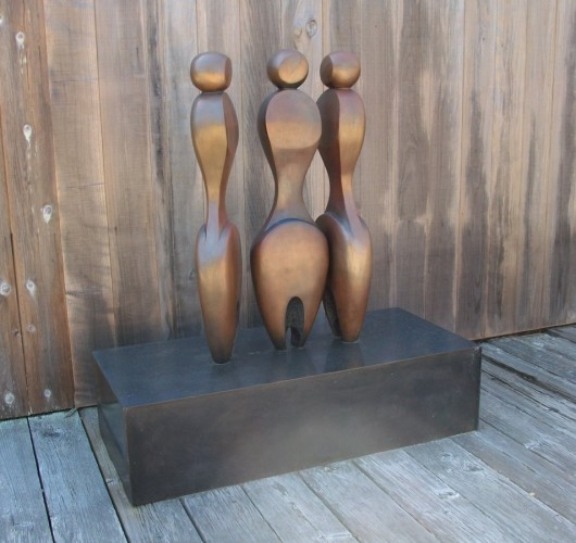 3 Women, 2 Fish (Medium Size) Bronze Sculpture 42 in