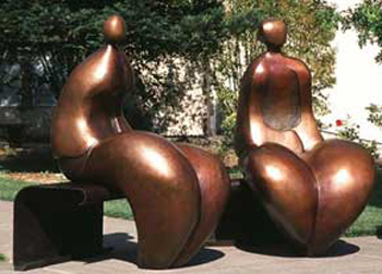 Mr. And Mrs. Nantua Bronze Sculpture 1999  6 Ft