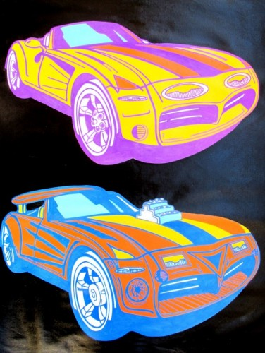 2 Race Cars - Pop Series Unique 2008 30x38