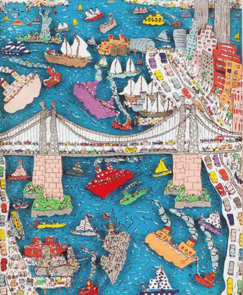 Brooklyn Bridge AP 3-D 1982 by James Rizzi