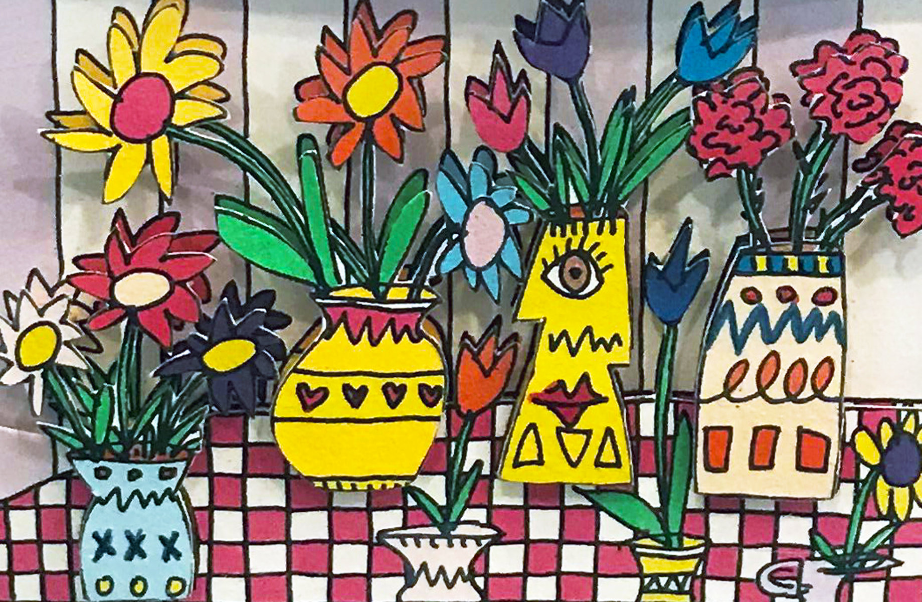 2 Pieces - Flowers For My Love And Lunch Break AP 3-D by James Rizzi