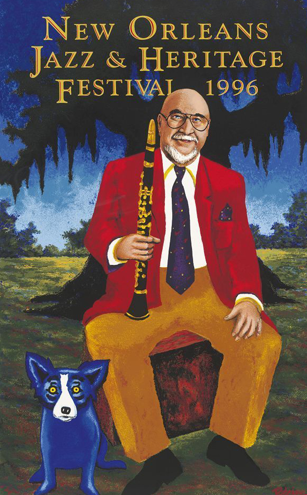 New Orleans Pete Fountain/blue Dog Jazz Fest Remarque Poster 1996
