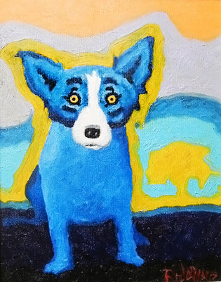 Blue Dog With a Yellow Tree 1992 17x20