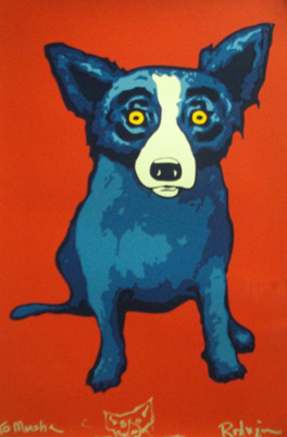 Second Line, Red Remarqued by Blue Dog George Rodrigue