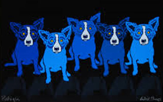 Dog in Blue Girl in Black AP 1997