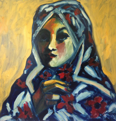 Woman Wearing Romanian Shawl 36 x 361993 by Sarena Rosenfeld