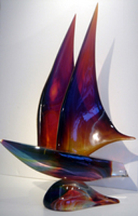 Sail Boat Unique Glass Sculpture 27 in