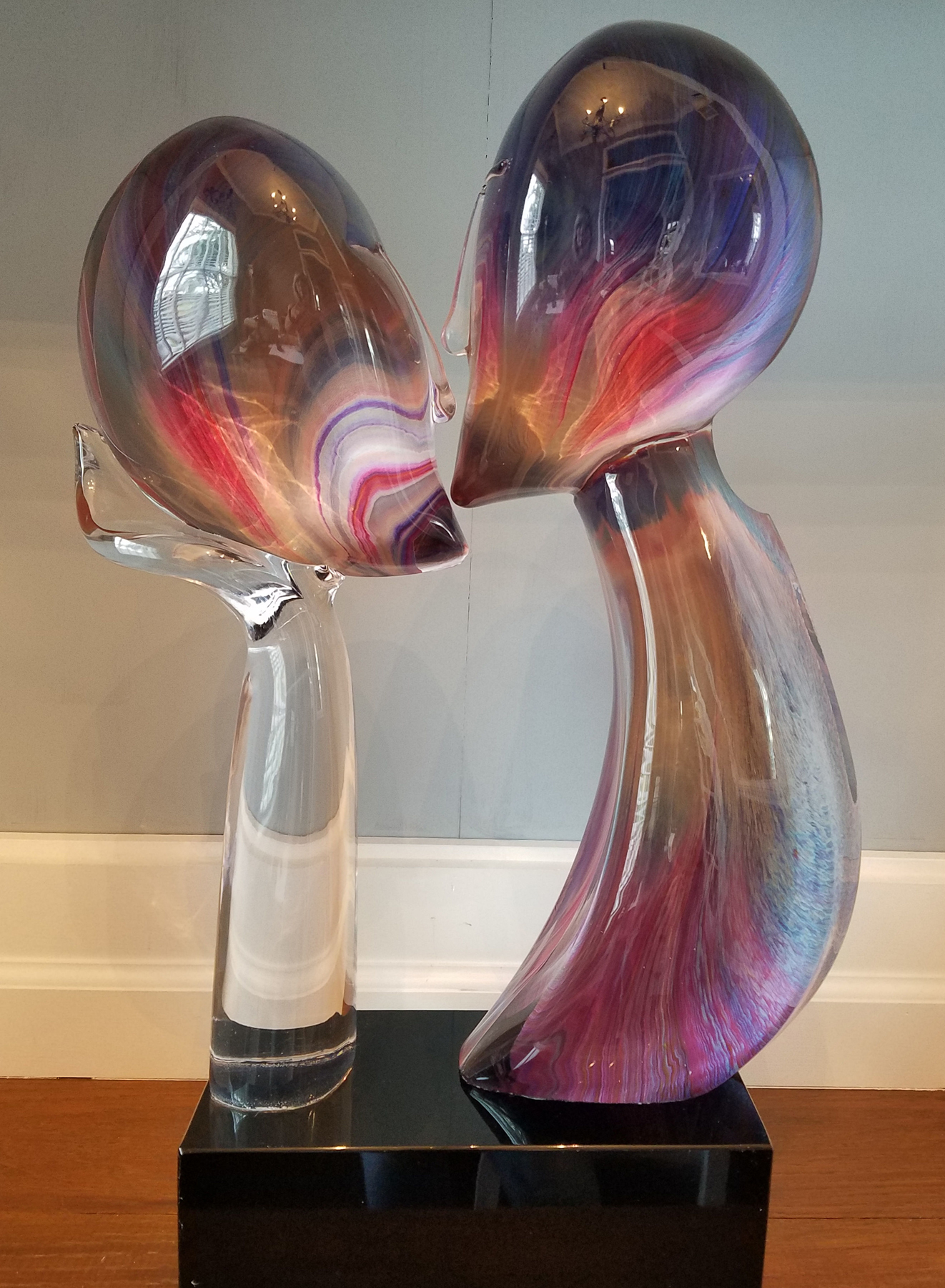 Kiss Glass Unique Sculpture 25 in