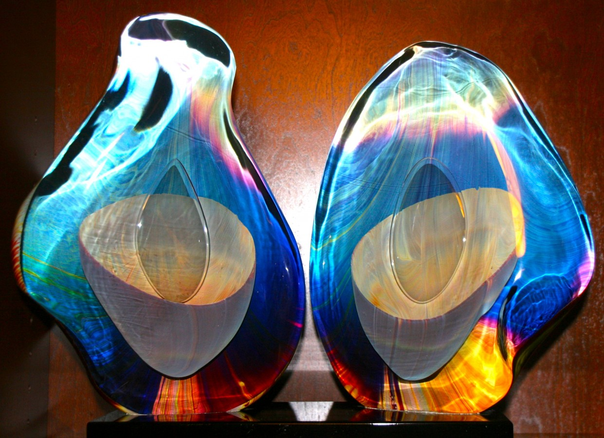 Two Eyes Set of Unique Glass Sculptures 2000 20 in