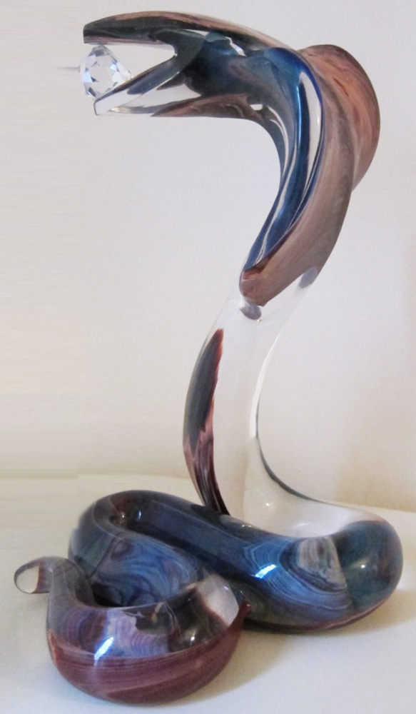 Cobra Glass Sculpture Unique 18 in