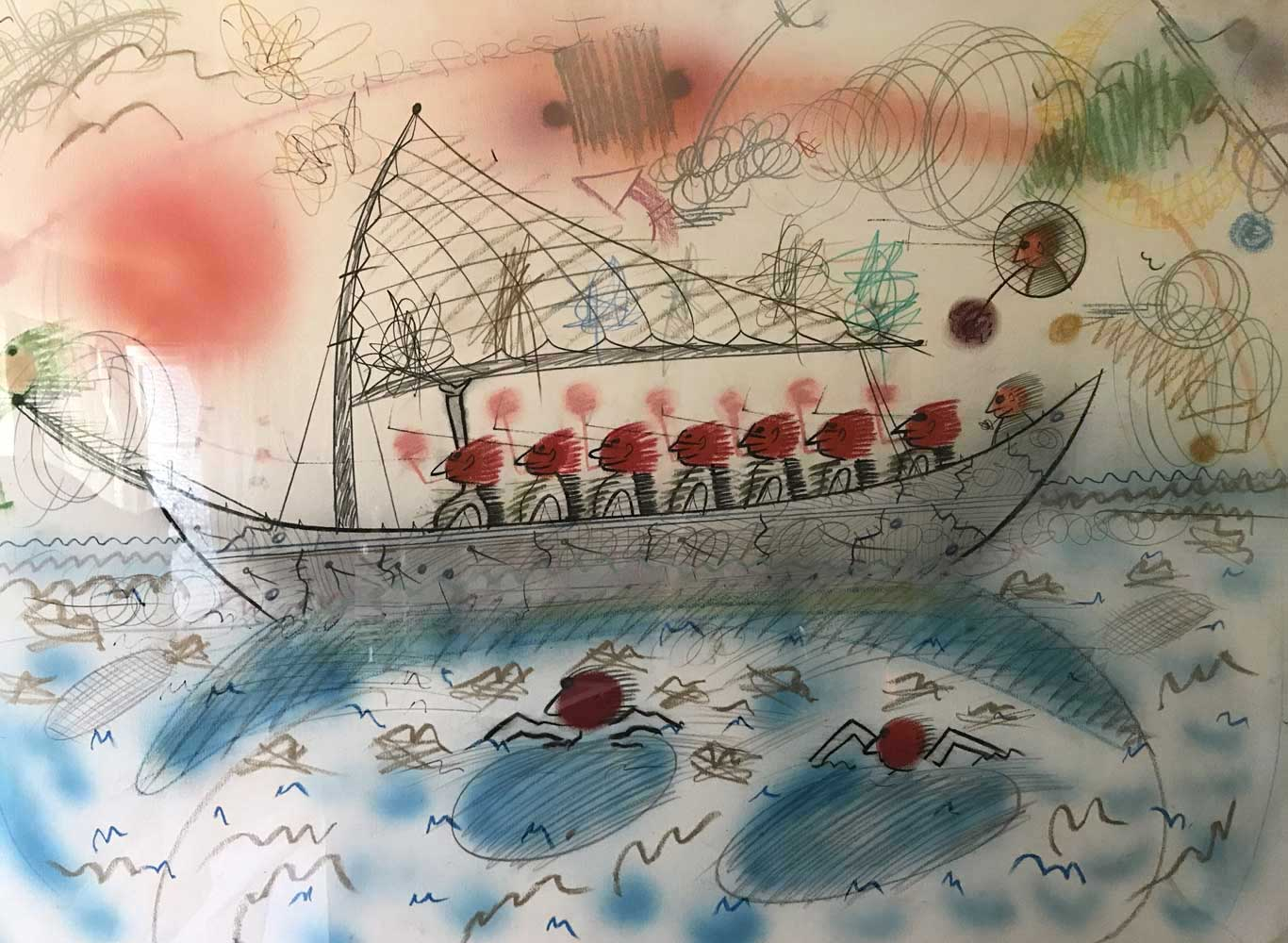 Untitled Red Head Series, Eight Red Men in a Boat 1983 46x34