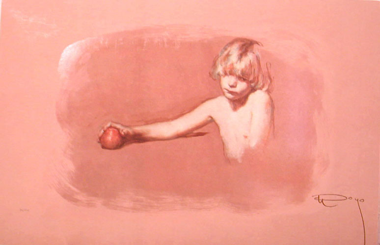 Nina Con Manzana on Clay Panel 1997