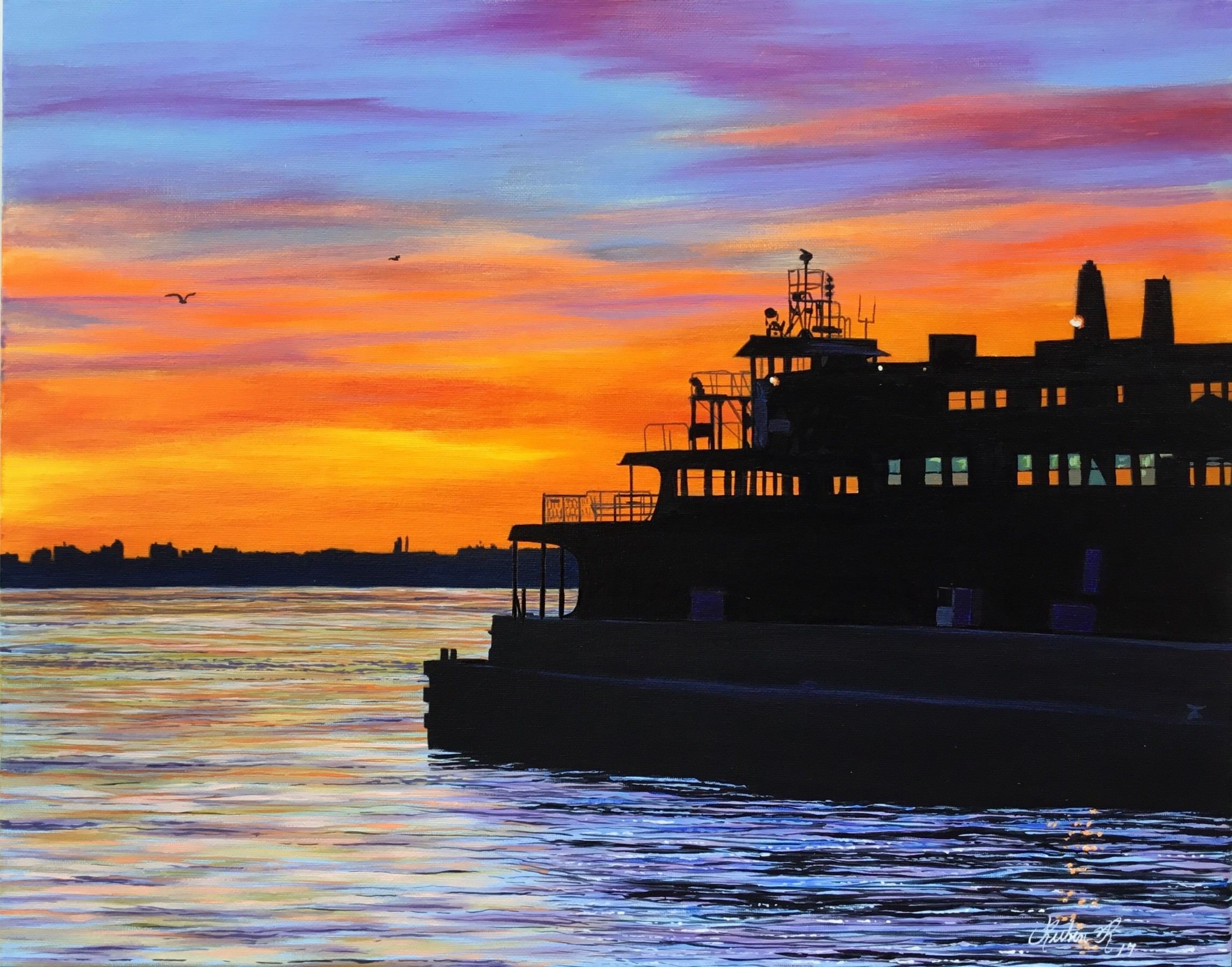 Sunset At the Ferry 2017 16x20