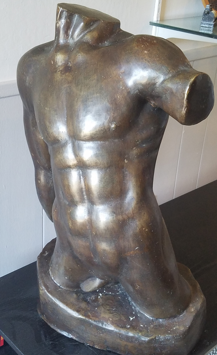 Male Torso Nude Bronze Sculpture 28 in