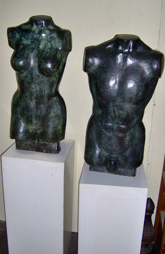 El and Ella Bronze Early Sculpture Set 34 in
