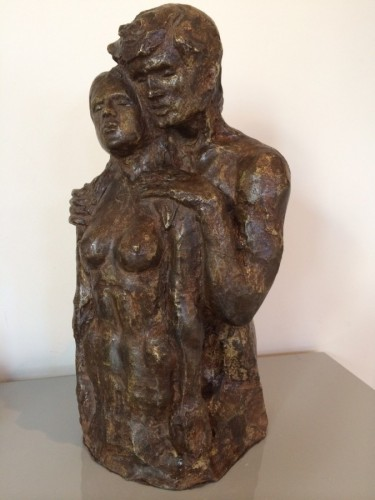 Los Amantes (The Lovers) Bronze Sculpture 1977 13 in