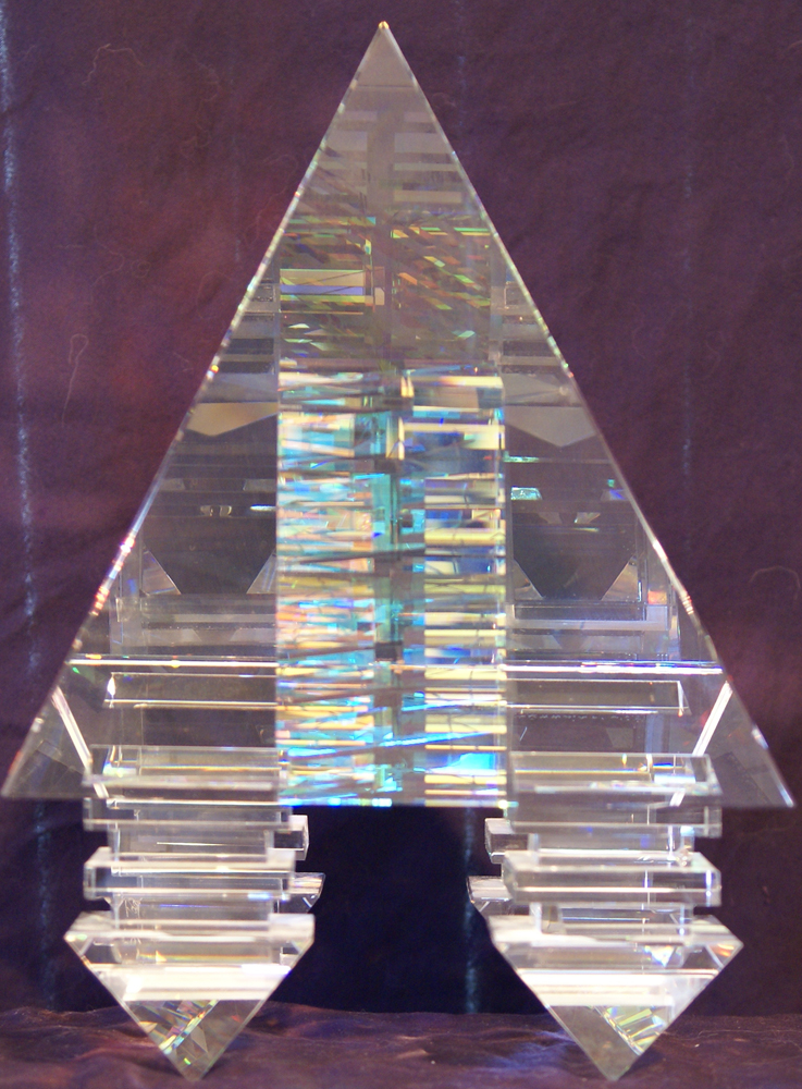 Suspended Pyramid Glass Sculpture 2003 12 in