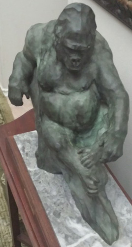 Gorilla Bronze Sculpture 1987 17 in