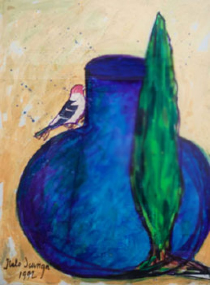 Bird on Blue Jar With Italian Cypress 1992 30x28