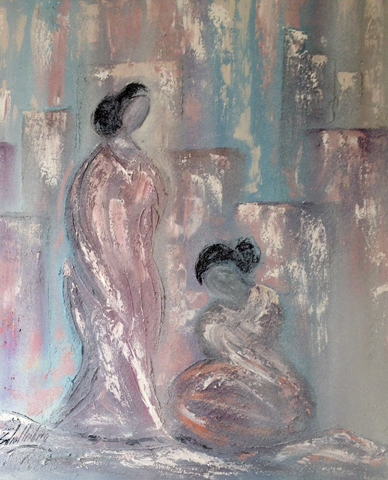 Untitled, Figures of 2 Women 1987 70x60