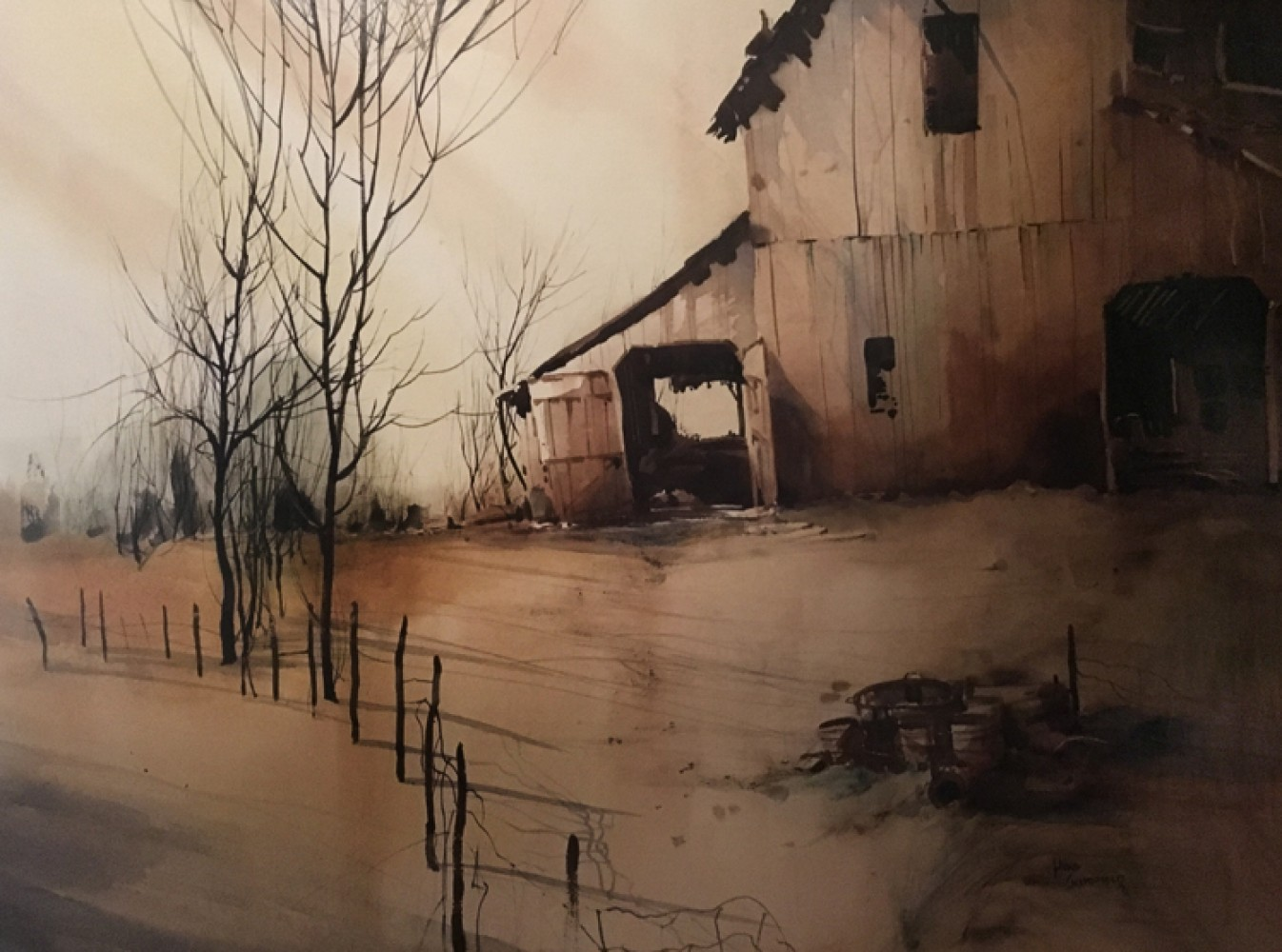 Barn Watercolor 1973 31x39