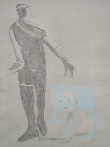 Man and Dog Monotype 1992 41x30