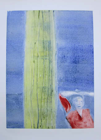 Mystery Woman with Cactus Monotype 1987 30x22