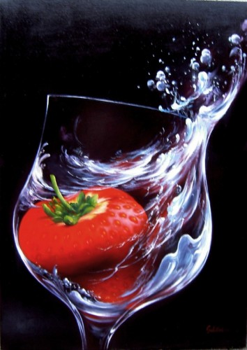 Strawberry in Glass 2010 by Heinz Scholnhammer