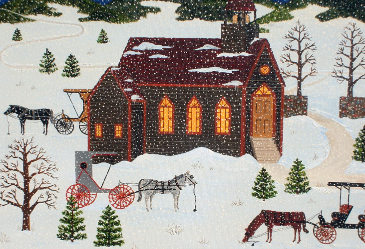 Winters Night At Church 1976 21x26