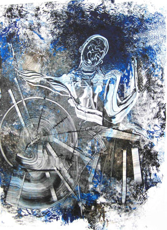 Big Sid Catlett Monoprint 2010 30x22
