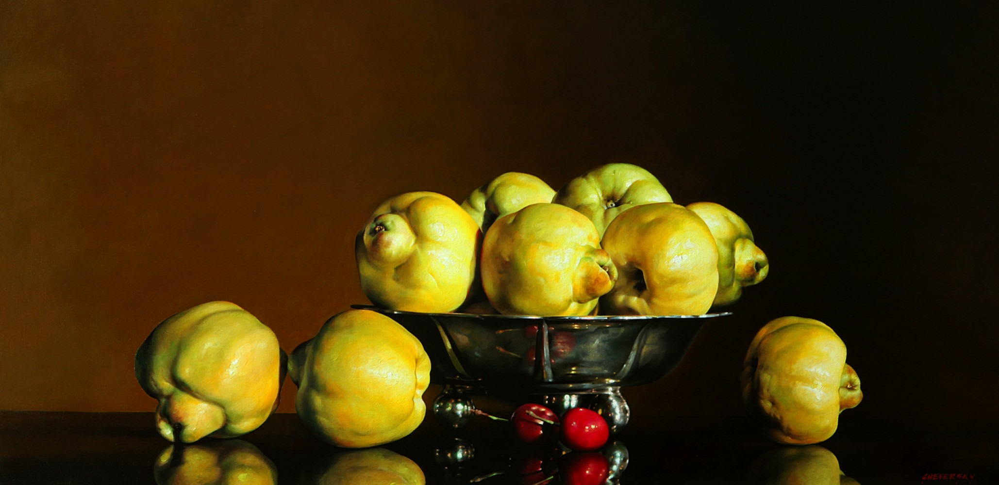 Quinces in Silver Bowl 30x60