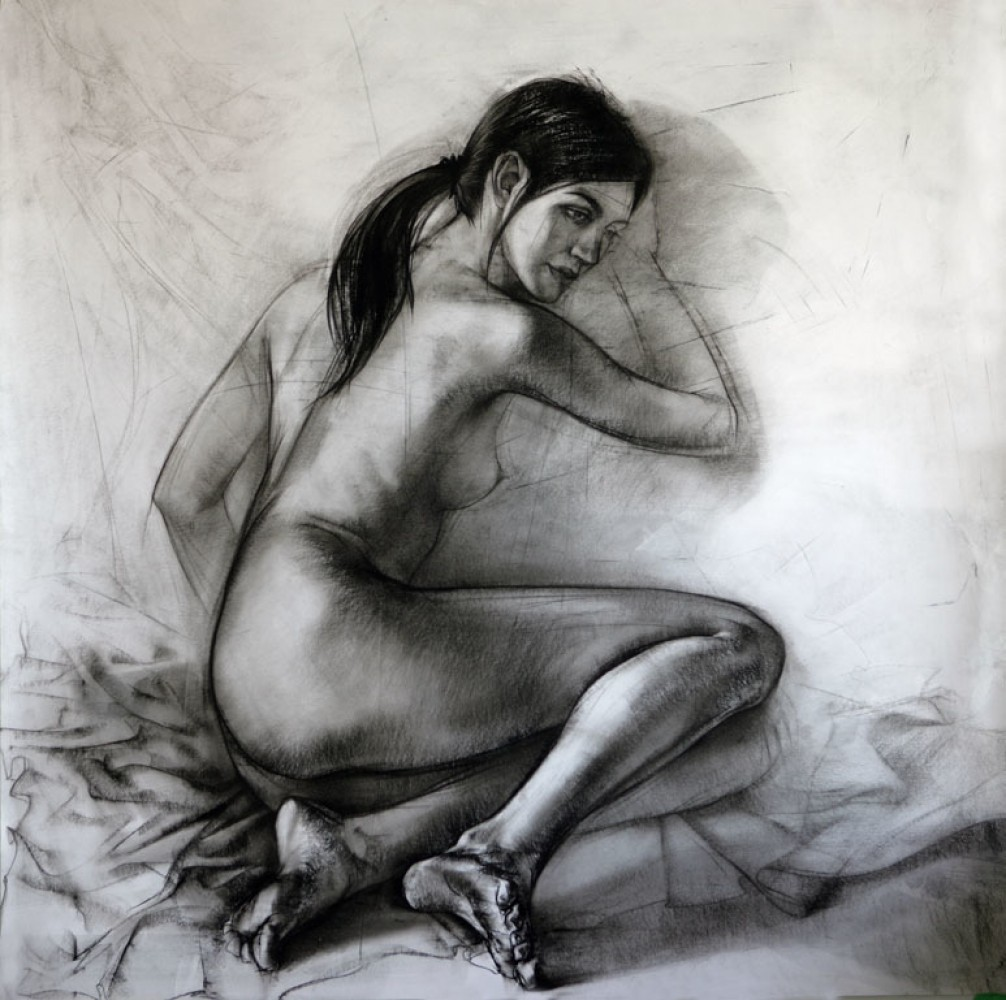 Nude And Fabric Drawing 38x38