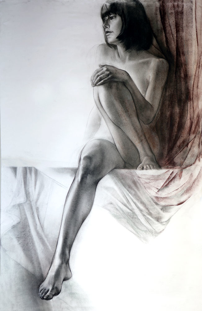 Nude And Silks Drawing 44x29