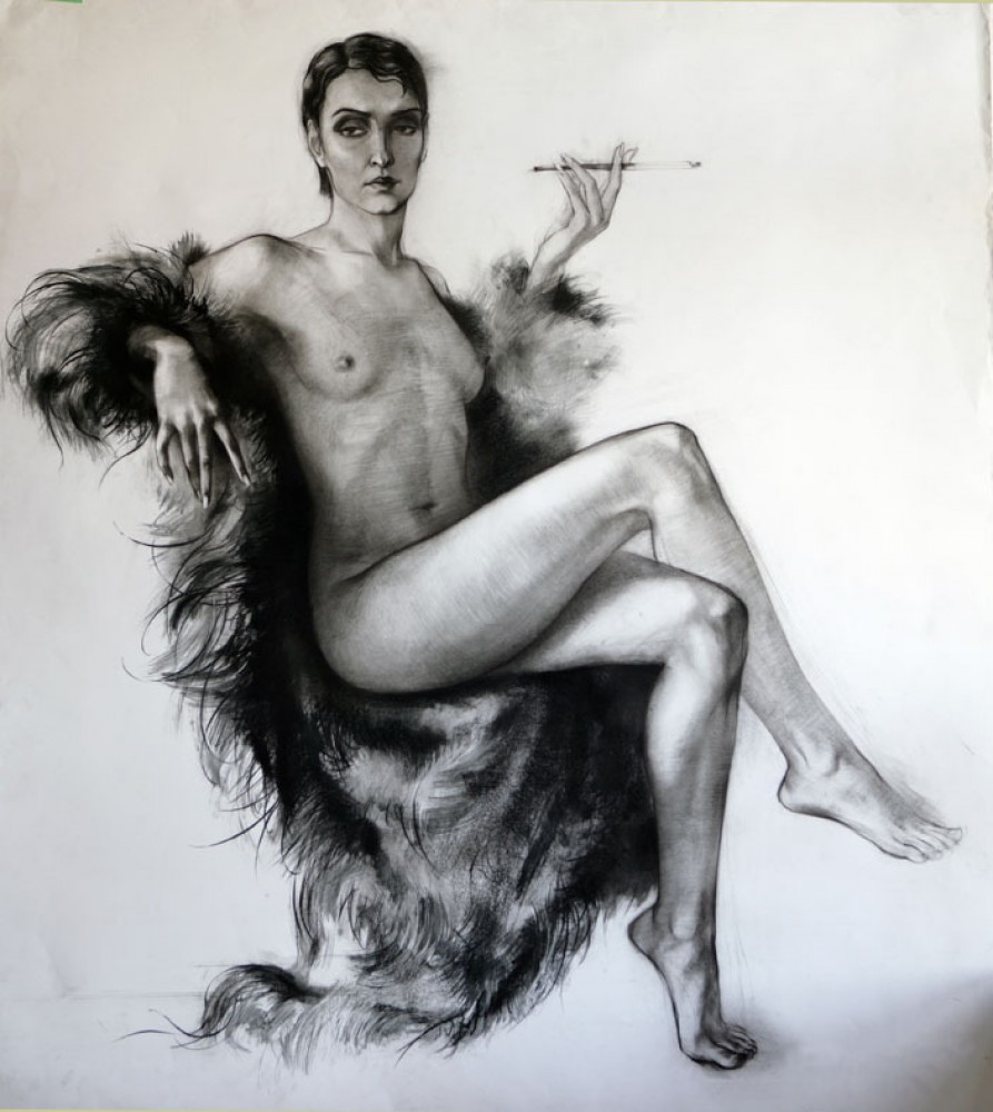 Nude in Fur Coat Drawing 44x39