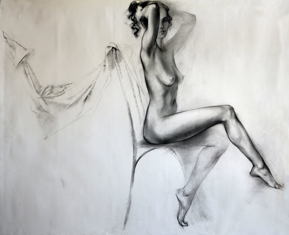 Seated Nude Legs Crossed Drawing 33x38