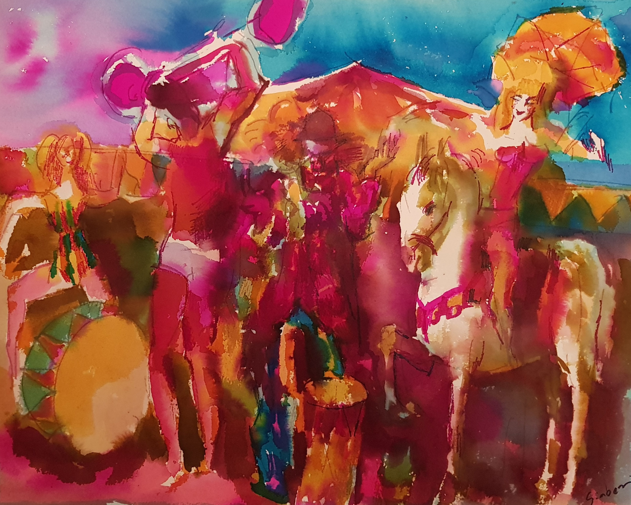 Circus Watercolor  1975 23x27