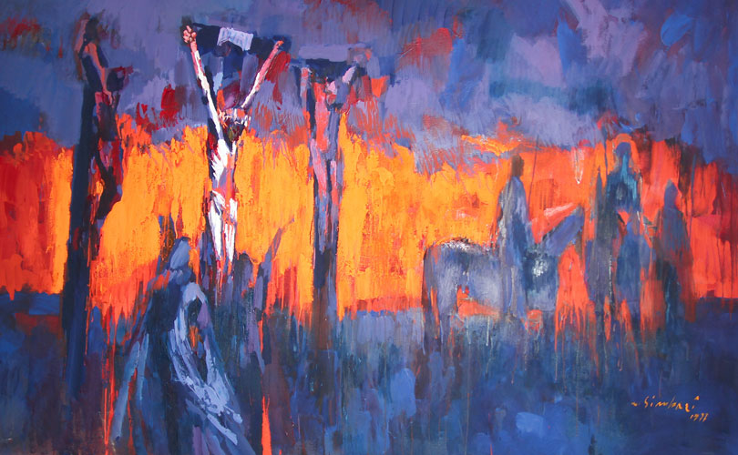 Crucifixion (Religious Painting) 1972 60x96