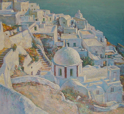 Santorini at Sunset Italy  1990 52x52