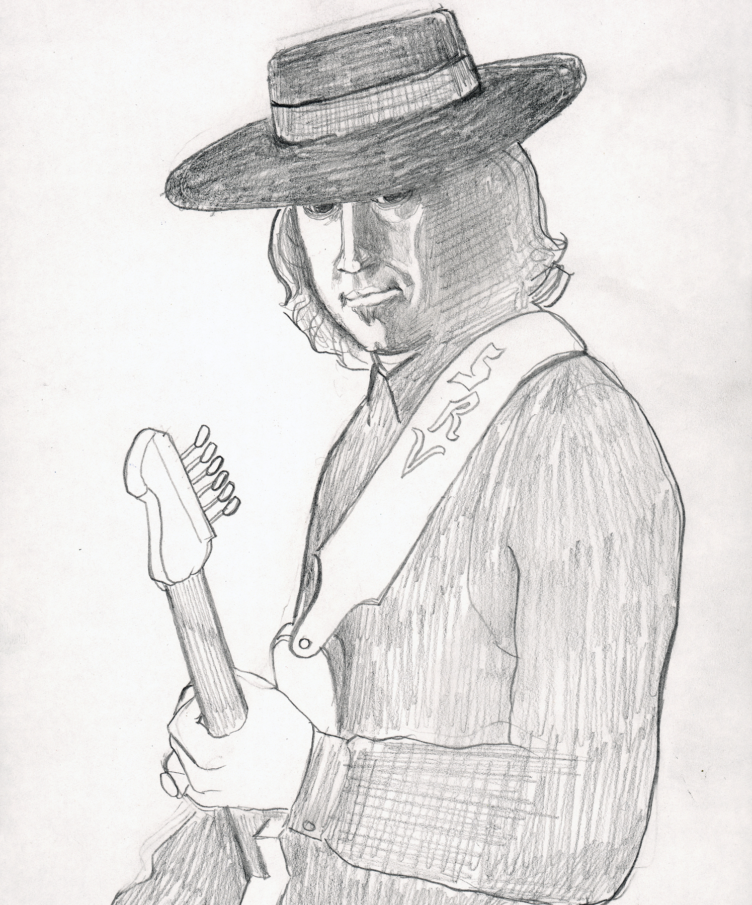 Stevie Ray Drawing 2005 13x7.5